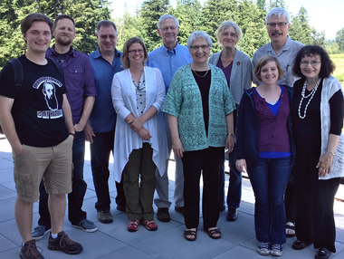 MB Historical Commission 2016 annual general meeting: (l to r): Andrew Brown (summer intern), J Janzen, Richard Thiessen, Patricia Janzen Loewen, Don Isaac, Dora Dueck, Julia Reimer, Hannah Keeney, Jon Isaak, and Peggy Goertzen. Missing members include: Valerie Rempel and Kevin Enns-Rempel.
