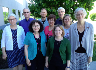 MB Historical Commission gathered in Winnipeg (June 2-3, 2017) for its annual general meeting (l to r): Dora Dueck, Don Isaac (chair), Peggy Goertzen, J Janzen (vice chair), Valerie Rempel (recording secretary), Hannah Keeney, Jon Isaak (executive secretary), Patricia Janzen Loewen, and Julia Reimer. Missing members: Richard Thiessen and Kevin Enns-Rempel.