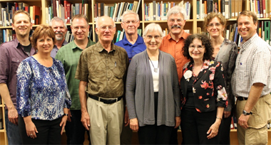 MB Historical Commission 2012-2013: (l to r): J Janzen, Valerie Rempel (recording secretary), Kevin Enns-Rempel, Richard Thiessen, Abe Dueck, Don Isaac (chair), Dora Dueck (vice chair), Jon Isaak (executive secretary), Peggy Goertzen, Julia Reimer, and Conrad Stoesz.