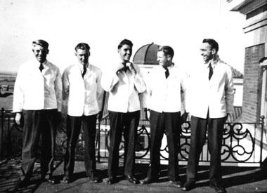 Mennonite COs serving as orderlies at Brandon Mental Hospital (Brandon, Manitoba), 1943 (l to r): Jake Peters, Peter Stobbe, Sig Enns, Herb Brandt, and George Kroeker.